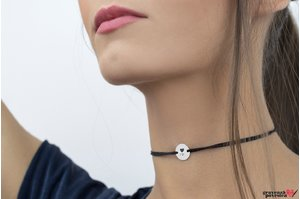 Colier CHOKER COIN 12mm TEXT