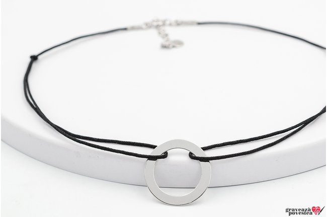 Colier CHOKER ETERNITY DISC 20mm TEXT