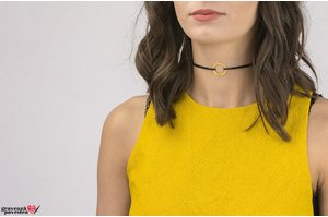 Colier CHOKER ETERNITY DISC 20mm TEXT placat cu aur