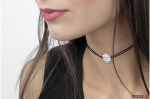 Colier CHOKER LACE COIN TEXT