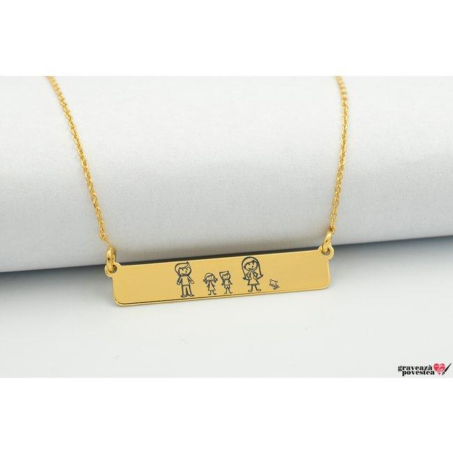 Colier CLASIC BAR 32mm TEXT placat cu aur