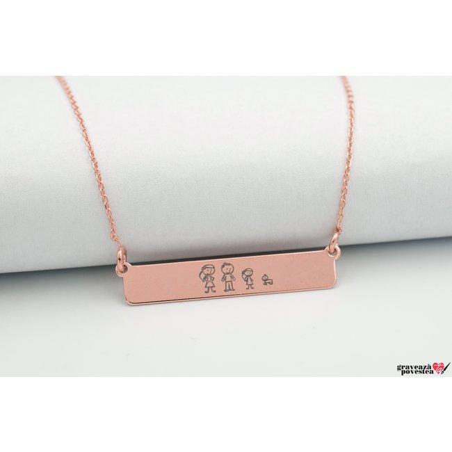 Colier CLASIC BAR 32mm TEXT placat cu aur roz