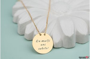 Colier COIN 15mm GOLD 14K TEXT