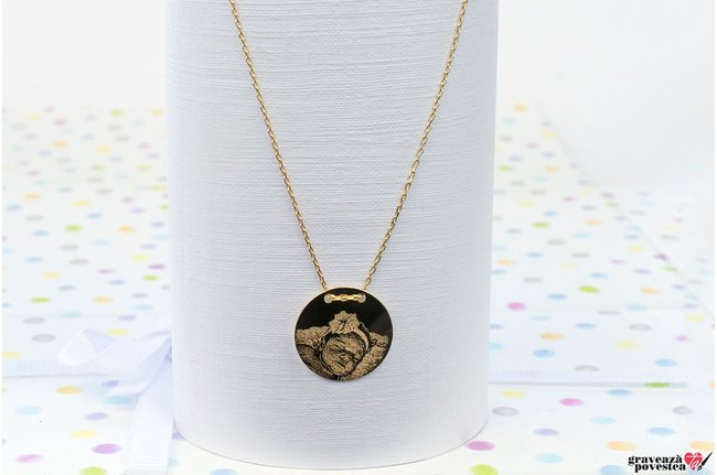 Colier COIN 15mm PURE GOLD 14K FOTO