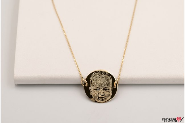 Colier FIXED COIN 15mm GOLD 14K FOTO