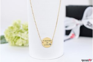Colier COIN 15mm TEXT prindere laterala PURE GOLD 14K