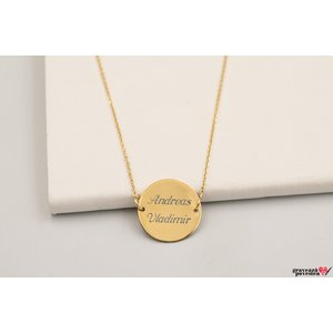 Colier FIXED COIN 15mm GOLD 14K TEXT