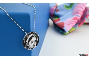 Colier COIN 15mm WHITE GOLD 14K FOTO