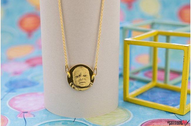 Colier FIXED COIN 16.5mm FOTO placat cu aur