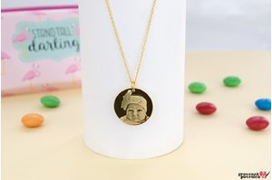 Colier COIN 19mm FOTO placat cu aur