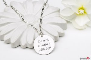 Colier cu zale FOR HIM - COIN 22mm TEXT