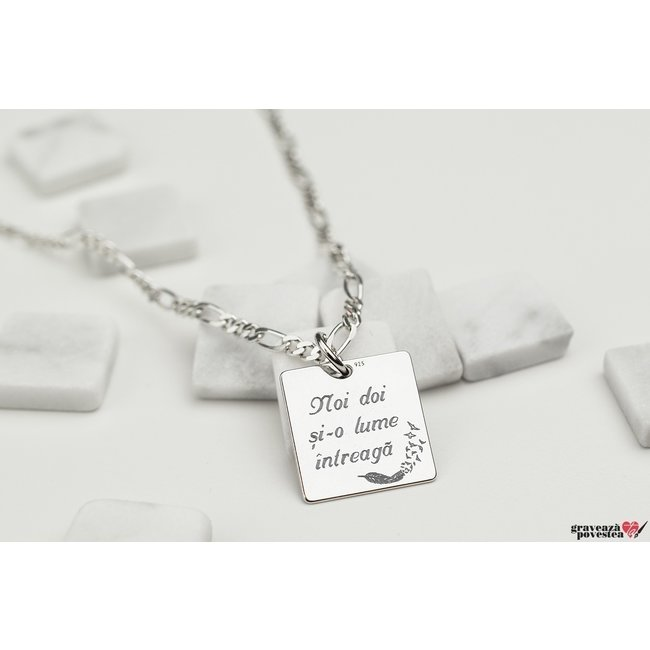 Colier cu zale FOR HIM - SQUARE 15mm TEXT