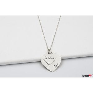 Colier DOUBLE CHARMS HEART TEXT
