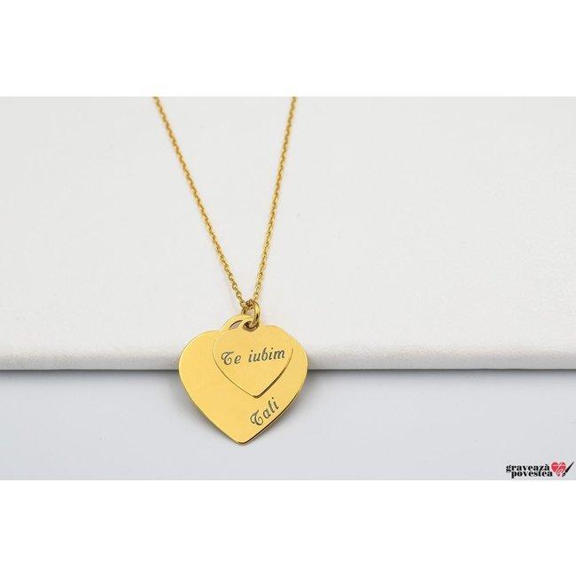 Colier DOUBLE CHARMS HEART TEXT placat cu aur