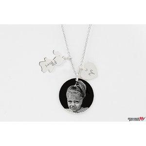 Colier pentru mama banut 19 mm personalizat gravura foto Argint 925 rodiat (1 copil)