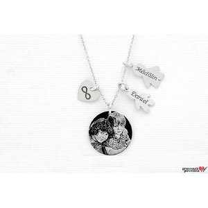 Colier pentru mama banut 19 mm personalizat gravura foto Argint 925 rodiat (2-3 copii)