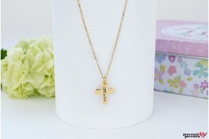 Colier ENGRAVE CROSS 12mm PURE GOLD 14K TEXT