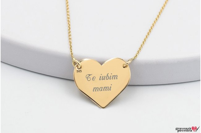 Colier FOLLOW YOUR HEART 18mm GOLD TEXT
