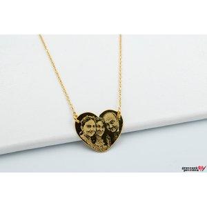 Colier FOLLOW YOUR HEART 20mm FOTO placat cu aur