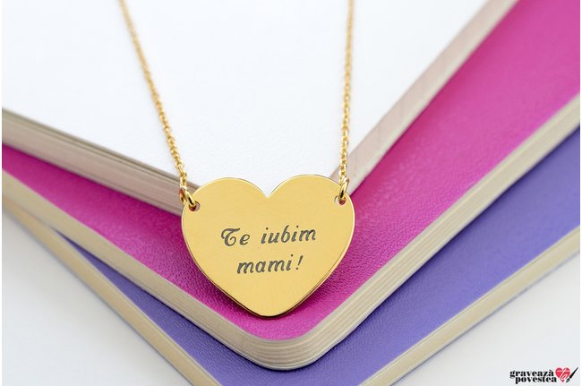 Colier FOLLOW YOUR HEART 20mm TEXT placat cu aur