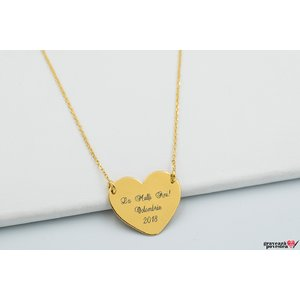 Colier FOLLOW YOUR HEART 20mm TEXT placat cu aur