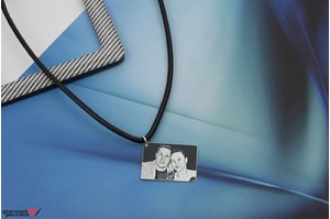 Colier FOR HIM RECTANGULAR 25mm FOTO ( pure leather )