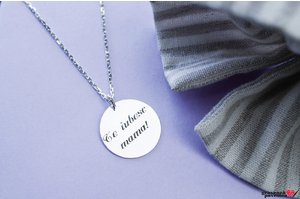 Colier FOR HIM - COIN 22mm TEXT (lant gros)