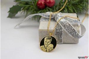 Colier unisex COIN 22mm FOTO placat cu aur (Lant Beads)