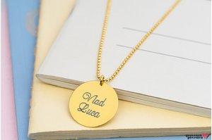 Colier unisex COIN 22mm TEXT placat cu aur (Lant Beads)