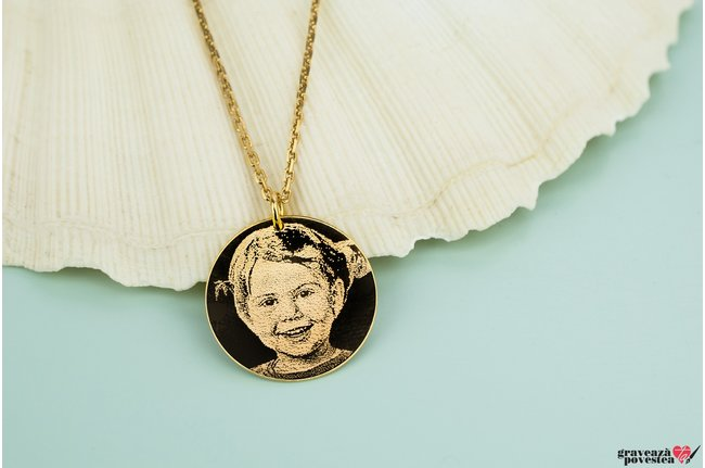 Colier unisex COIN 22mm FOTO placat cu aur (Lant Cable)