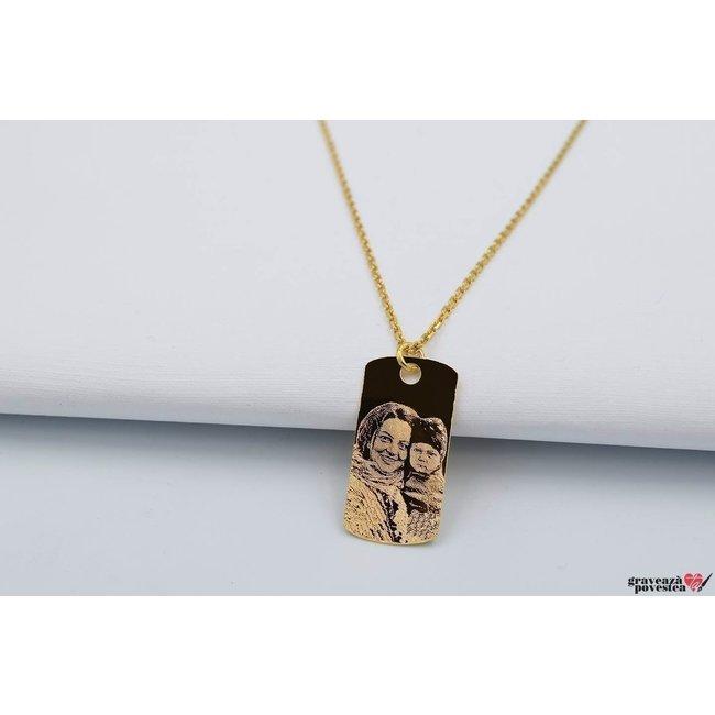 Colier unisex PLATE 28mm FOTO placat cu aur (Lant Cable)