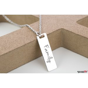 Colier unisex RECTANGULAR BAR 28mm TEXT (Lant Cable)