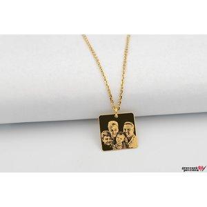 Colier unisex SQUARE 16.5mm FOTO placat cu aur (Lant Cable)