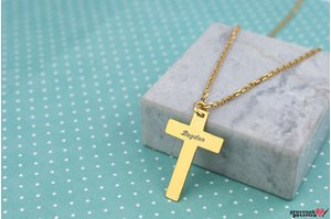 Colier unisex THE CROSS 28mm TEXT placat cu aur (Lant Cable)