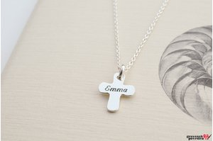 Colier la baza gatului ENGRAVE CROSS 12mm TEXT