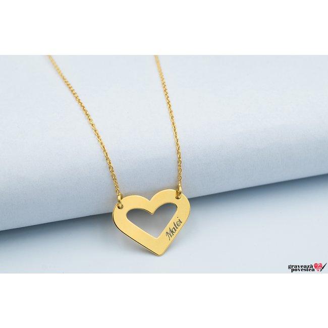 Colier HEART SHAPE 20mm TEXT placat aur