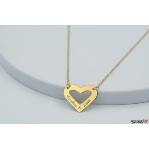 Colier HEART SHAPE 20mm TEXT placat aur