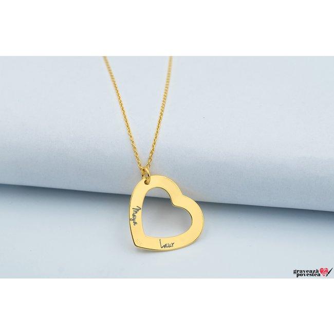 Colier HEART SHAPE 22mm TEXT placat aur