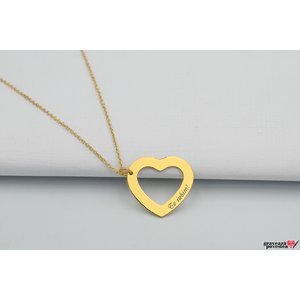 Colier HEART SHAPE 22mm TEXT placat aur