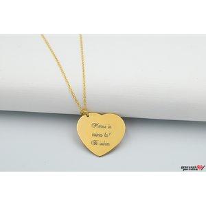 Colier I LOVE YOU 24mm TEXT placat cu aur