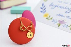 Colier INFINITY LOVE COIN 10mm placat cu aur