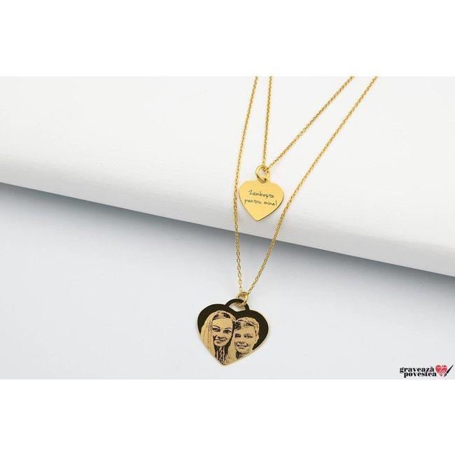 Colier layered CHARM HEARTS 12mm/ 20mm FOTO placat cu aur
