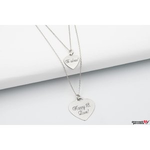 Colier layered CHARM HEARTS 12mm/ 20mm TEXT