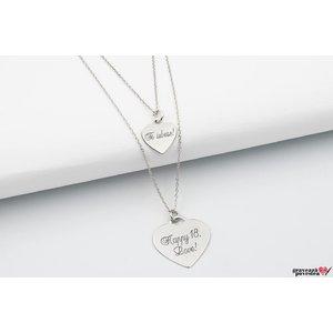 Colier lantisor dublu inima 20 mm & 12 mm personalizat gravura text Argint 925 rodiat
