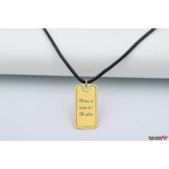 Colier LEATHER PLATE 28mm TEXT placat cu aur