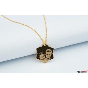 Colier LOTUS 20mm FOTO placat cu aur