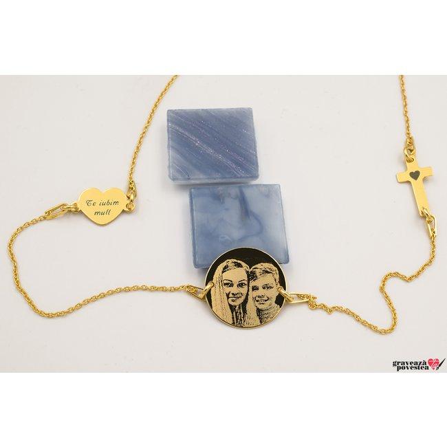 Colier LOVE and FAITH FOTO placat cu aur