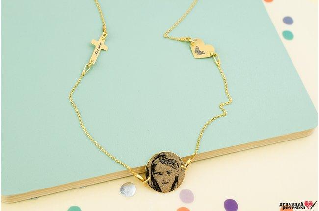Colier LOVE BLISS 3 pandantive FOTO  placat cu aur