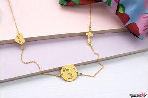 Colier LOVE BLISS 3 pandantive TEXT placat cu aur