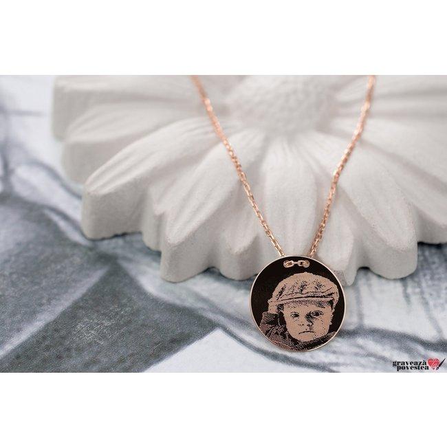 Colier LUXURY COIN 15mm FOTO placat cu aur roz